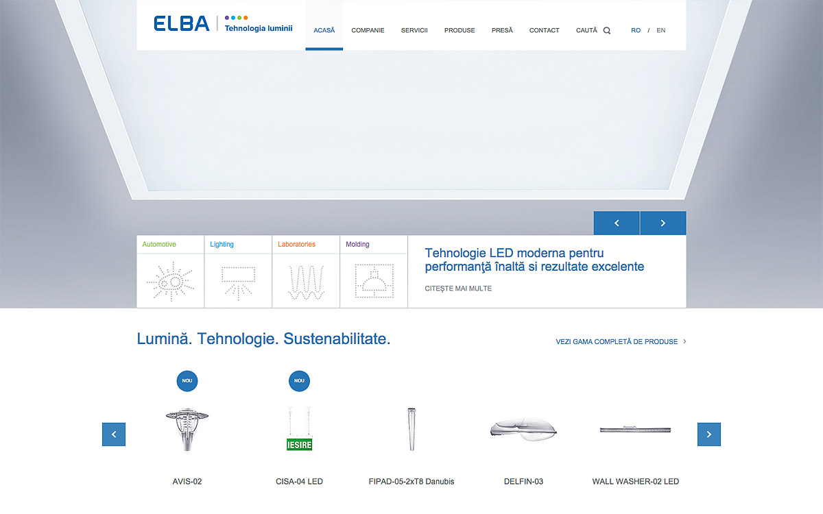 Elba Lighting WordPress website