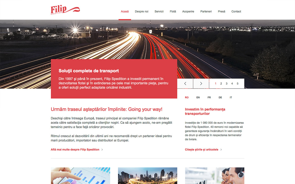 Screenshot of Filip Spedition website